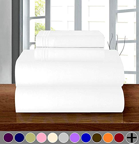 1500 Thread Count Full (Double) Size 4pc Egyptian Bed Sheet Set, Deep Pocket, White