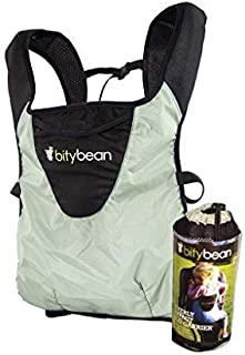 Bitybean UltraCompact Baby Carrier for Travel and Use in Pool and Ocean - Sand Grey with Hood