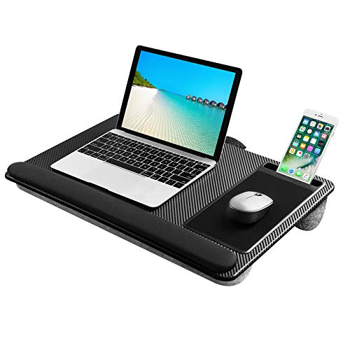Lap Desk Laptop Tray with Pillow Cushion, Lightweight Lap Stand with Built in Mouse Pad/Wrist Rest/Phone Slot, Laptop Size up to 17 Inches. For Sofa and Bed use - No 008312862-0001