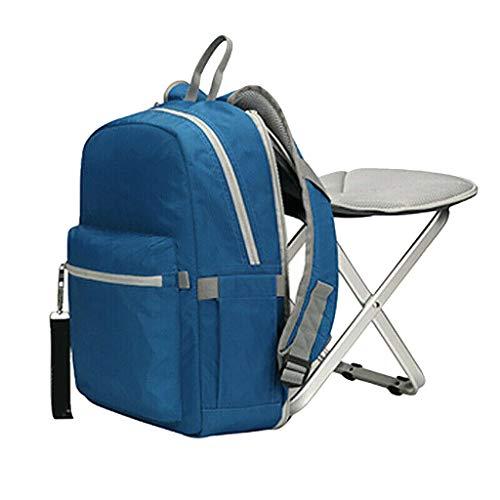 Binggong Rucksack Stuhl Praktischer Tagesrucksack zum Angeln 12.6 X 4.7 X 15.7in Wasserabweisend Sporttasche Leichter Angelrucksack mit Stuhl/Klappstuhl mit für Camping, Wandern ( Hellblau)
