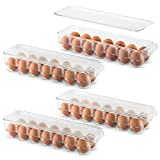 Set Of 4 Plastic Egg Holders Stackable Refrigerator Organizer Bins - Egg Tray Holder with Lid & Handles - Clear Plastic Storage Container for Fridge Freezer Holds 14 Eggs