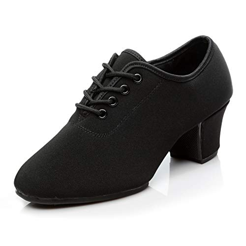HIPPOSEUS Zapatos de Baile Latino para Mujer Negro Oxford Tela Salón Suela de Goma Zapatos de Baile Modernos,NJB701,Negro,EU 41