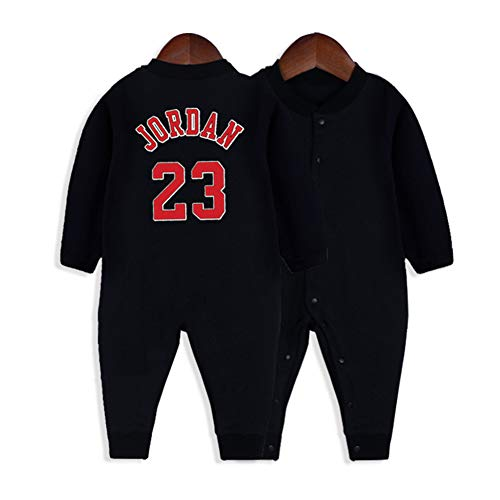 HFJLL Baby Jersey Davis Duncan Thompson Baloncesto Cardigan Bebé-Niños Jumpsuit 0-15 Meses Body 20 Estilos,Jordan-Black,90CM