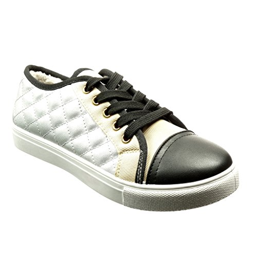 Angkorly - Damen Schuhe Sneaker - Tennis - gesteppt Schuhe - Pelz Flache Ferse 2.5 cm - Silber YD-5 T 38