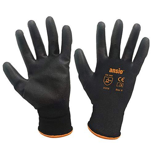 24 pares Guantes de trabajo Guantes de trabajo de manipulación general de nylon negro sumergido en palma de PU - Grandes