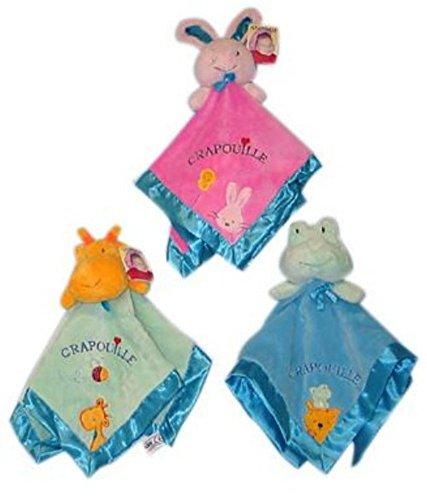 Sandy Doudou Grand Format 55 CM Peluche avec tête d'animaux Grenouille, Girafe, Lapin (Rose Lapin)