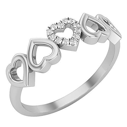 Dazzlingrock Collection Anillo de compromiso con cinco corazones de diamante blanco redondo de 0,05 quilates, disponible en metal de oro de 10 K, 14 K, 18 K y plata de ley 925.