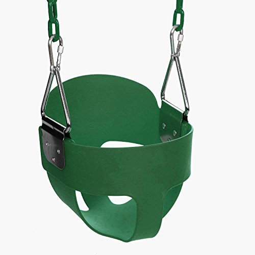 ANCHEER Toddler Swing Seat High Back Full Bucket Swing Seat with 60-inch Coated Chain and Two Snap Hooks –Swing Set Accessories (Green)