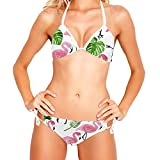 Conjunto de Bikini para Mujer Trajes de baño de 2 Piezas Estampado Floral, Flamenco Rosado Hoja de Palmera Tropical