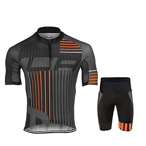 Traje de Jersey de Deportes al Aire Libre para Hombre, Ropa Deportiva de Ciclismo, Conjunto de Maillots y Pantalones Cortos de Ciclismo, Top + Pantalones Cortos de MTB,Naranja,S
