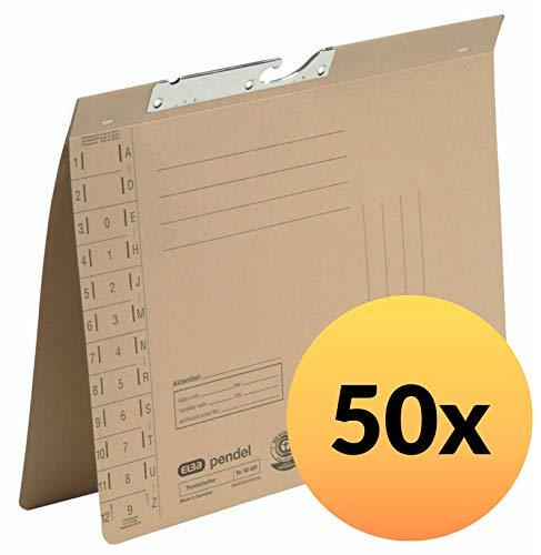 ELBA 100560106 Pendelhefter 50er Pack kaufmännische Heftung und Schlitzstanzung aus 230 g/m² Natronkarton naturbraun
