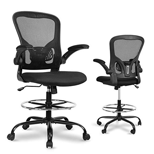 Drafting Chair Tall Office Chair - Ergonomic Mesh Standing Desk Stool with Flip-Up Arms, Computer Conference Room Chairs with Adjustable Foot Ring, Executive Rolling Swivel Chair for Home & Office.