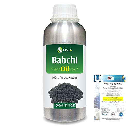 Babchi Oil (Psoralea Corylifolia) 100% Pure & Natural Undiluted Uncut Cold Pressed Carrier Oil | Best for Aromatherapy | Therapeutic Grade (1L)