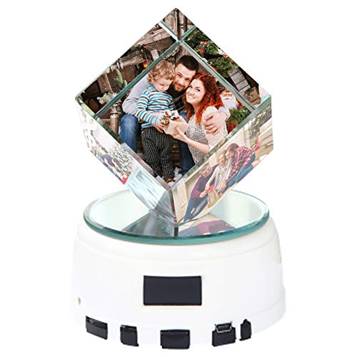 Luz de foto personalizada Luz de música Bluetooth personalizada Cubo de cristal 3D Marco de fotos luminoso LED Navidad para mamá(Cubo de rubik)