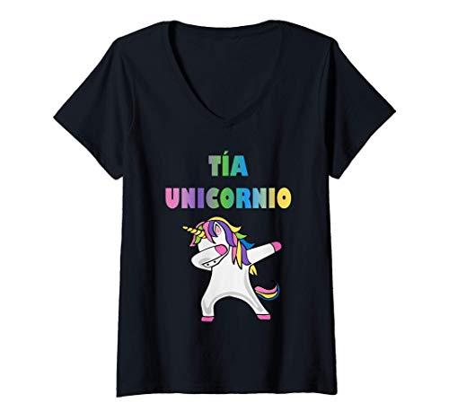 Womens Camiseta de Unicornio para Tia Mujer - Tia Unicornio Camiseta Mujer Cuello V