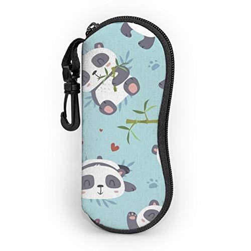 Gafas de sol Funda suave con clip para cinturón lindo panda con corazones bambú portátil ultra ligero neopreno cremallera gafas caso seguridad gafas bolsa para hombre mujer