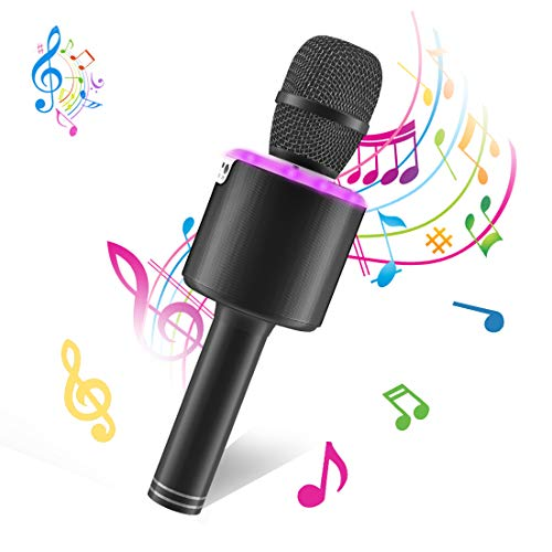 Wireless Bluetooth Karaoke Microphone,Portable Handheld Karaoke Mic Speaker Machine for Kid Adult Girl Home Party Singing Birthday Gift compatible with Android/iPhone/PC or All Smartphone Black