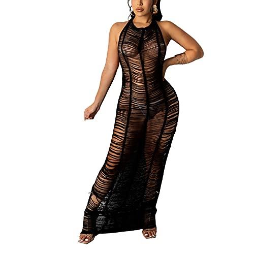 OMILASUI Sexy Häkelkleid für Damen, ärmellos, Neckholder, gestrickt, ausgestanzt, lang, für Sommer, Strand, durchsichtig. Gr. Small, Schwarz