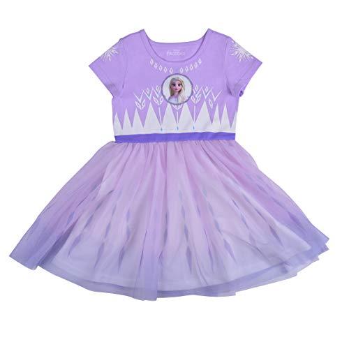 Disney Frozen II Dress for Girls, Elsa Snowflake Princess Dress, White/Pink/Lilac, Size 3T