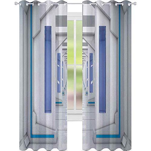 Rideaux occultants à isolation thermique - Pour véhicules robotiques et spatiaux - Inspiré du système solaire - Inspiré du voyage - 160 cm de long - Bleu et blanc