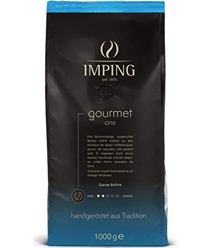Gourmet One Kaffee Kaffeebohnen mild 1kg - Stärke 2/5 - Milde Spitzenmelange Ganze Bohnen 100% Arabica - Milder Bohnenkaffee handgeröstet aus deutscher Traditionsrösterei