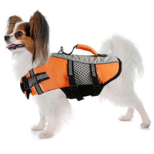 Schwimmweste für Hunde, verstellbar, reflektierend, mit Rettungsgriff, für kleine, mittelgroße und große Hunde (klein, orange)