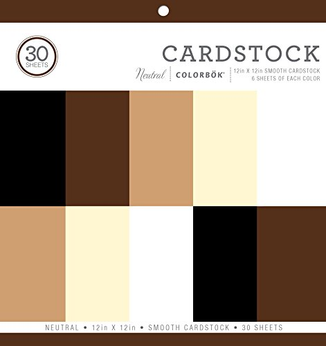 Colorbok 61198B Neutral Smooth Cardstock Paper Pad, 12 x 12- 6 sheets of 5 different Neutral colors.