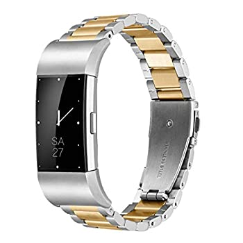 Fitbit Charge 2 Wrist Band,Shangpule Stainless Steel Metal Replacement Smart Watch Band Bracelet with Double Button Folding Clasp for Fitbit Charge 2  Silver + Gold