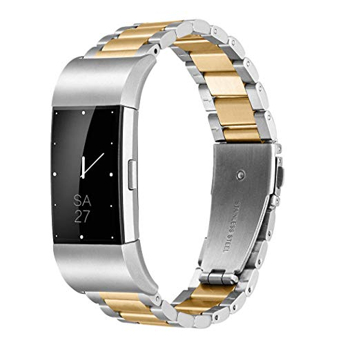Shangpule Fitbit Charge 2 Wrist Band, Stainless Steel Metal Replacement Smart Watch Band Bracelet with Double Button Folding Clasp for Fitbit Charge 2 (Silver + Gold)