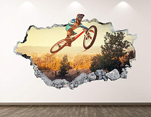 Off Road Bike Wall Decal Art Decor 3D Smashed Mountain Bicycle Sticker Poster Kids Room Mural Custom Gift BL209 (22' W x 14' H)