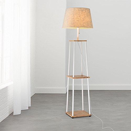 HJR Lampe De Sol Salon Simple Chambre Moderne Lampe De Table Verticale Nordic Sofa Créatif Lampe De Table D'atterrissage A+ (Couleur : Wood color panel+linen shade)