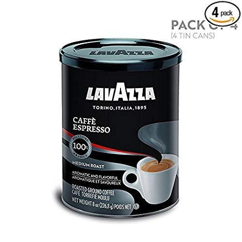 Lavazza Caffe Espresso Ground Coffee Blend, Medium Roast, 8-Ounce Cans,Pack of 4(100% Arabica)