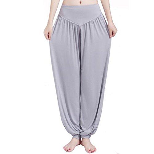 MEISHINE Mujer Pantalones de Yoga Pantalones Deportivos Algodón Modal Harem Pantalón Polainas para Danza, Yoga, Ganduleado, Fitness - Muy Suave (Size L, Light Gray)