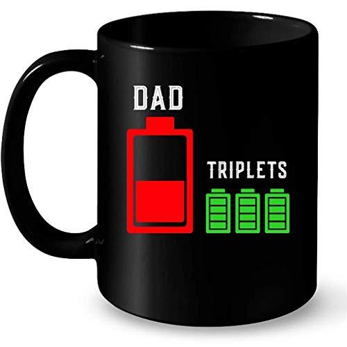N\A Trillizo papá, batería agotada trillizos Completamente Cargados b - Taza Negra de café Envolvente