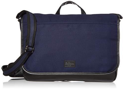 Ben Sherman Cotton Canvas Flapover Laptop Messenger Bag Navy...