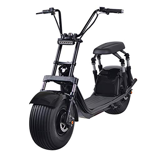 motor scooters 2000W Electric Moped Fat Tire Scooter with Front/Rear Shocks, Dual Disc Brakes One Button Start Electric Fat Tire Motor Bike for Adult with 2 Seats/Backrest/Cargo/Helmet,60V 21.8Ah