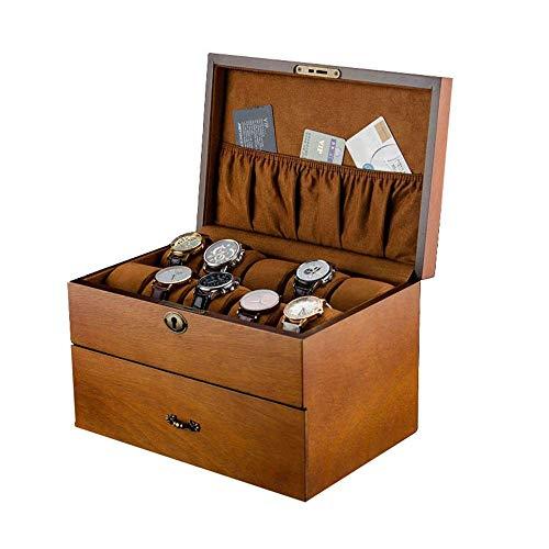 Collezione di scatole per orologi con serratura a doppio strato in legno Organizza vetrina per orologi Scatola per orologi Scatola per orologi Scatole per orologi (Colore: Marrone, Taglia: Taglia un