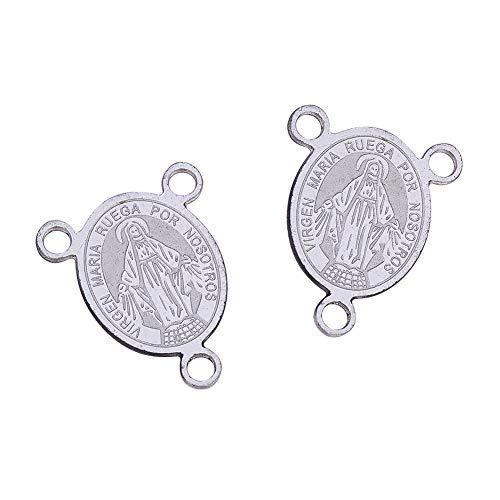 UR URLIFEHALL 10 abalorios de acero inoxidable 304 con conectores de 3 agujeros de Virgen María Oval Milagrosa Medalla Colgantes Colgantes para Fabricación de Joyería 20x15.5x0.8mm