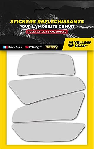 Yellow BearTM Classic 4 White - Juego de 4 pegatinas reflectantes 3M ScotchliteTM de material blanco, para casco de moto, tallas homologadas