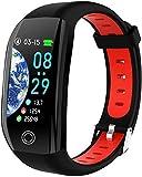 Reloj inteligente F21 Pulsera inteligente GPS Fitness Actividad Tracker 1 14 Deporte Impermeable Presión Arterial Reloj Monitor de Sueño Pulsera Fácil de Usar Delicado/Rojo-Rojo