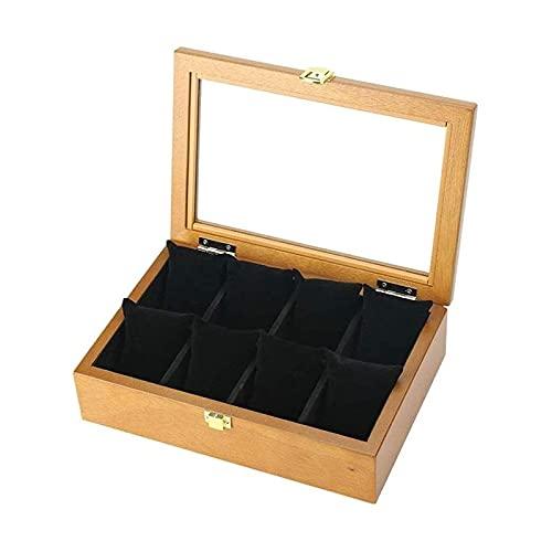 LSLS Caja joyero Visualización de relojes premium, cuero de imitación 8 tragamonedas, soporte con tapa de vidrio, estuche con almohada extraíble, forro de terciopelo, cierre de metal Organizador de jo