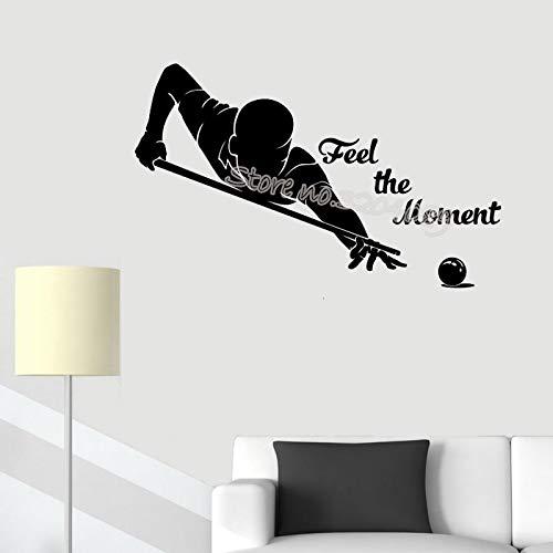 Njuxcnhg Billard Pool Wandaufkleber Spüren Sie den Moment Zitate Aufkleber Billard Player Spielzimmer Home Indoor Queue Sport Wasserdicht Decor 94X56 cm