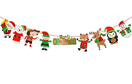 Merry Christmas Banner with Santa Claus,Snowman Theme Banner Decoration,for Front Door, Front Porch, Wall Decor.