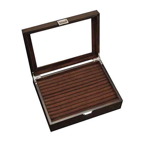 Gymqian Rings Storage Box for Women and Men, with Transparent Glass Cover Jewellery Box Cufflinks Ear Studs Collection Display Case, Lining, 30×22×8.5Cm Upscale/Dark Brown