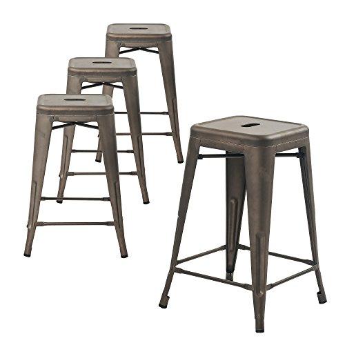 Buschman Metal Bar Stools 24' Counter Height, Indoor/Outdoor and Stackable, Set of 4 (Bronze)