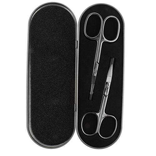Sharplace Kit 2pcs Ciseaux à Epiler Poils de Sourcils/Nez - Cisaille à Appliacation Faux Cils - avec Boîte de Rangement en Métal
