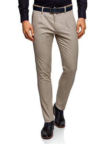 oodji Ultra Hombre Pantalones de Algodón con Acabado en Contraste, Beige, ES 46 (L)