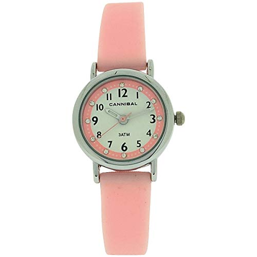 Cannibal Active Girls Diamante White Dial Pink Rubber Strap Watch CJ256-14