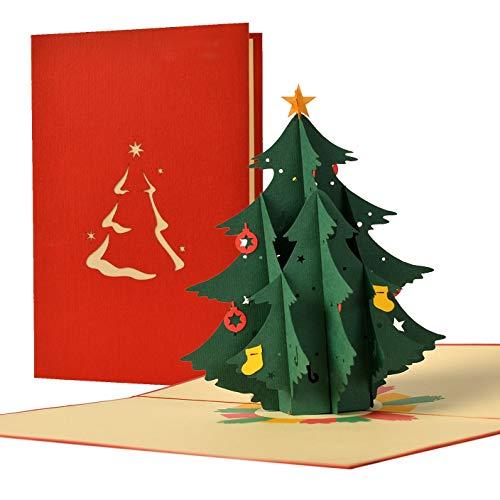 Juego de 3 tarjetas de felicitación de Navidad para la temporada festiva con 3d Pop Up de árbol de Navidad totalmente decorado y regalos I Voucher para Xmas, Set9-W30…