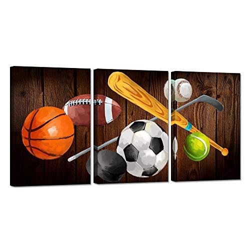 iHAPPYWALL Leinwandbild, Motiv Basketball, Baseball, Hockeybälle, Vintage-Sport, für Wohnzimmer, Schlafzimmer, Büro, aufgespannt und gerahmt, aufhängfertig, 3-teilig